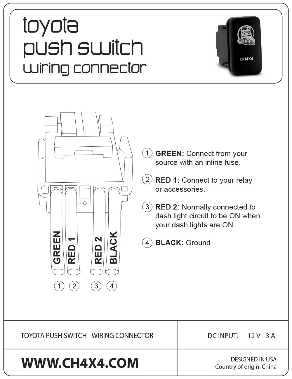 Amazon.com: CH4X4 Push Switch for Toyota Tacoma 3rd Gen - Led Light on dimmer switch installation diagram, light switch cabinet, light switch cover, light switch power diagram, light switch installation, light switch timer, circuit diagram, light switch piping diagram, light switch with receptacle, wall light switch diagram, electrical outlets diagram,