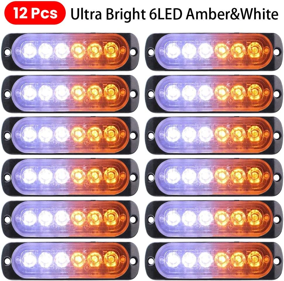 Light White Amber Emergency Hazard Warning Safety Flashing 6-LED Mini Bar Strobe Light-For Truck Car Vehicle-Head Emergency Beacon Hazard Warning lights 12-24V Everrich 12pcs Strobe Lights