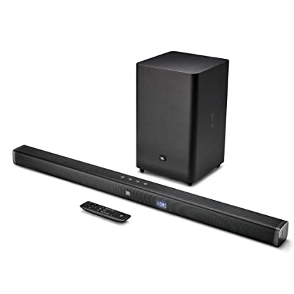 JBL Bar 2 1 Soundbar with Wireless Subwoofer (300 Watts, 4 Woofers, Dolby  Digital, Surround Sound)