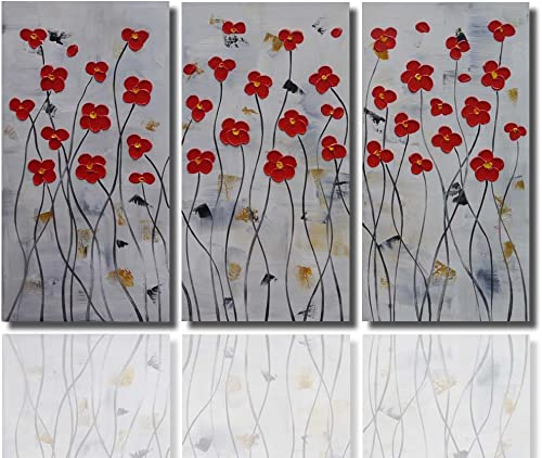 Joy Art Framed Red Flower Paintings Modern Abstract Painting on Canvas Wall Decor Landscape 3pcs set Ready to Hang