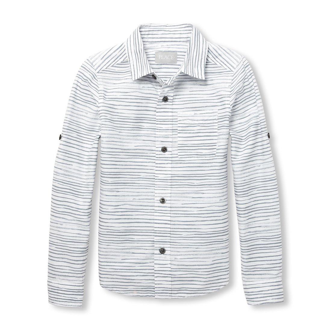 The Children's Place Big Boys' Printed Poplin Button Down Shirt