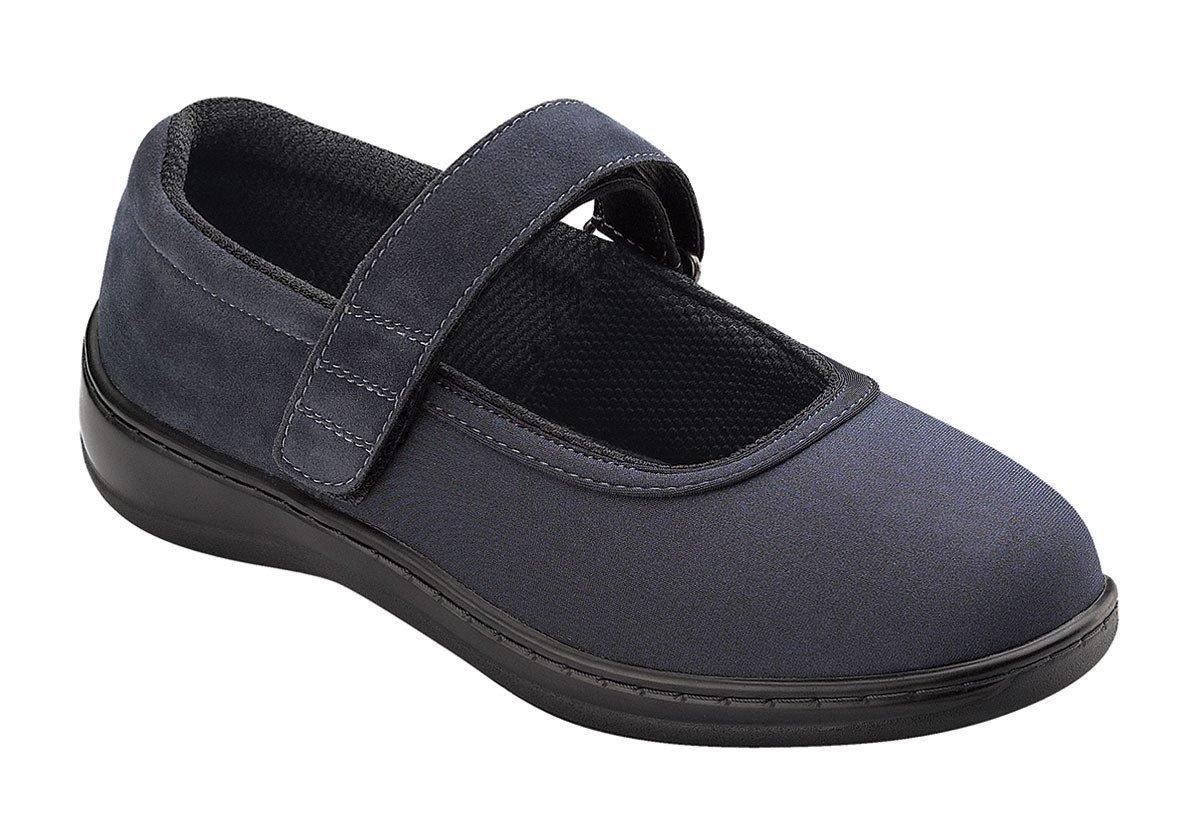 Orthofeet Springfield Womens Comfort Stretchable Orthopedic Orthotic Diabetic Mary Jane Shoes Navy Synthetic 9 XW US by Orthofeet (Image #1)