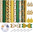 Caydo 10 Pieces Sunflowers Printed Faux Leather Sheet Include 3 Kinds of Leather Fabric with Earring Hooks, Hair Clips for Making Hair Bowsand Earrings (8.2 x 6.3 inch)