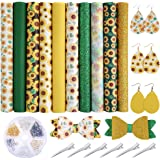 Caydo 10 Pieces Sunflowers Printed Faux Leather Sheet Include 3 Kinds of Leather Fabric with Earring Hooks, Hair Clips…