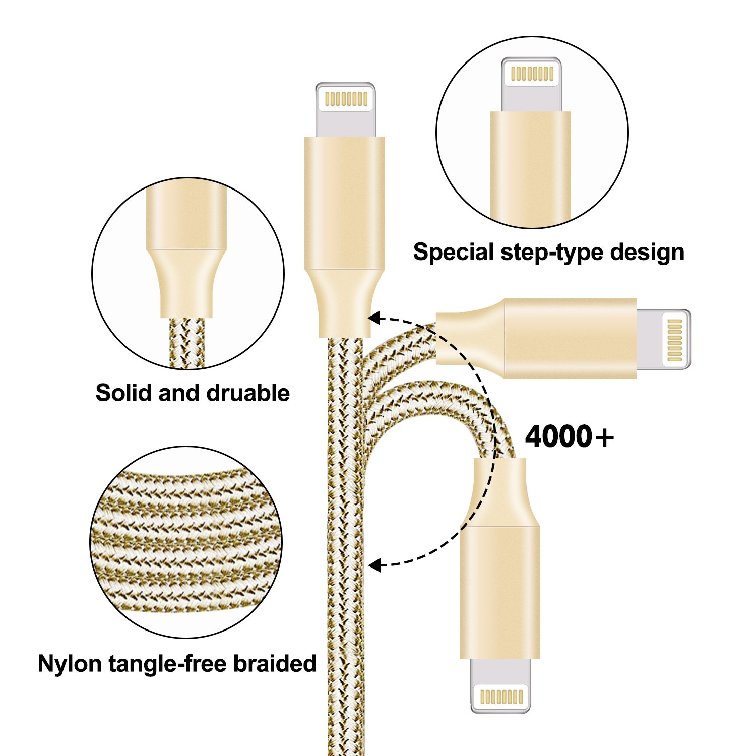 Youer Compatible with Phone Cable,Phone Charger 5P 3FT 6FT 6FT 10FT 10FT Nylon Braided Compatible with Phone Xs//XS Max//XR//X//Phone 8 8 Plus 7 7 Plus 6s 6s Plus 6 6 Plus Pad Pod Nano Gold