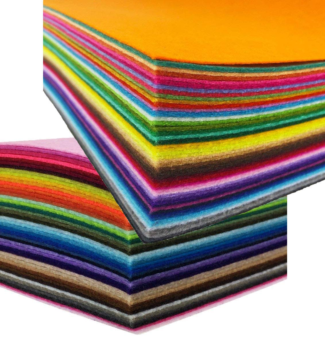 TBUY 40PCS Felt Sheets Nonwoven Fabric Assorted Color Patchwork Sewing DIY Craft 1mm Thick, 8x12 Inches (20x30CM)