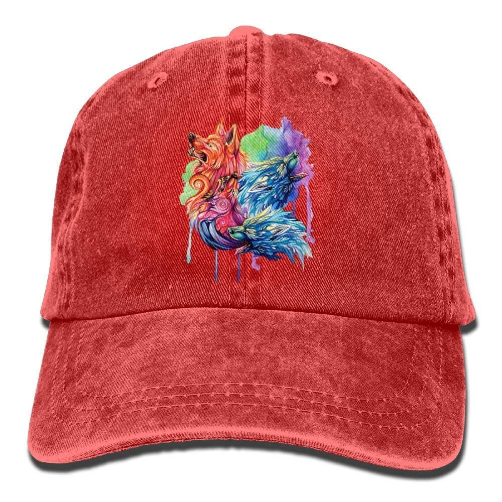 JTRVW Colorful Painting Wolf Denim Hat Adjustable Womens Great Baseball Hats