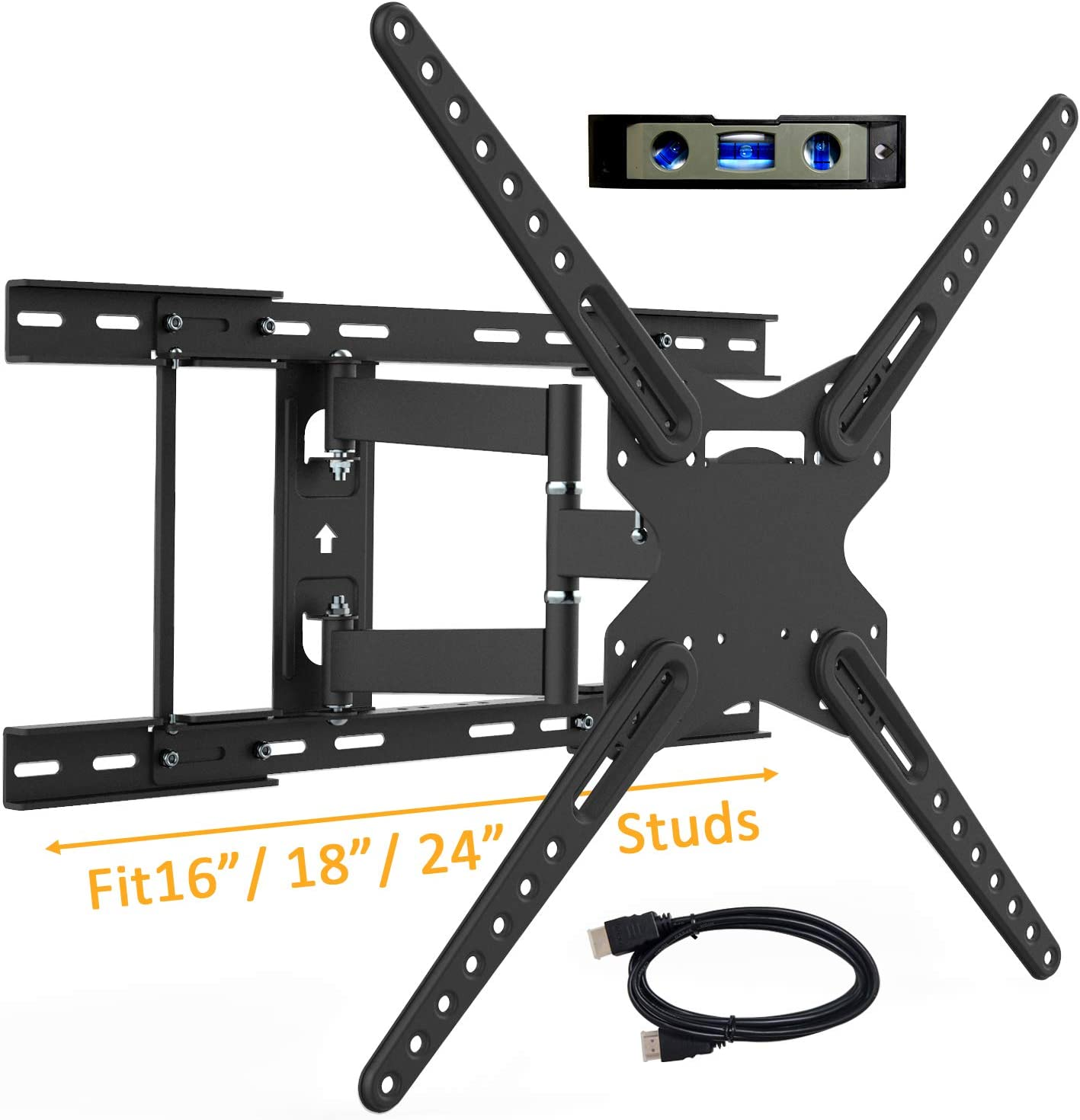 JUSTSTONE Universal Full Motion TV Wall Mount Bracket for 28-70 Inch Flat Curved LED OLED Screen with Swivel Articulating Arms Fits 16'' 18'' 24'' Wood Studs, Max VESA 600x400mm and Loads up to 110lbs