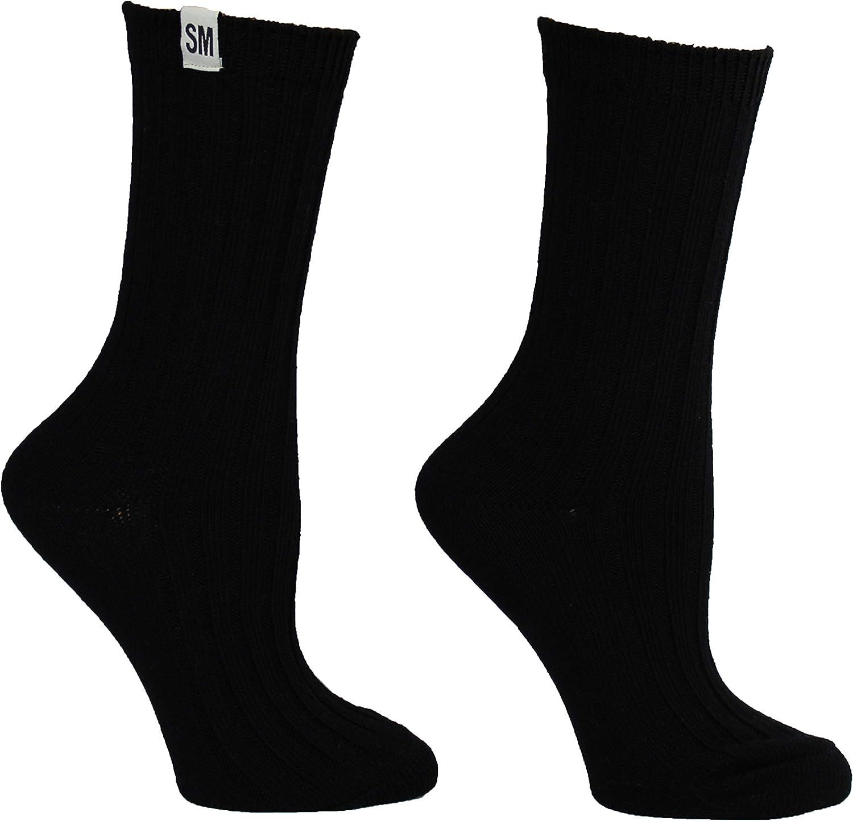 9-11 Steve Madden Legwear Womens 2PK Solid Ribbed Boot Socks SM45284 black