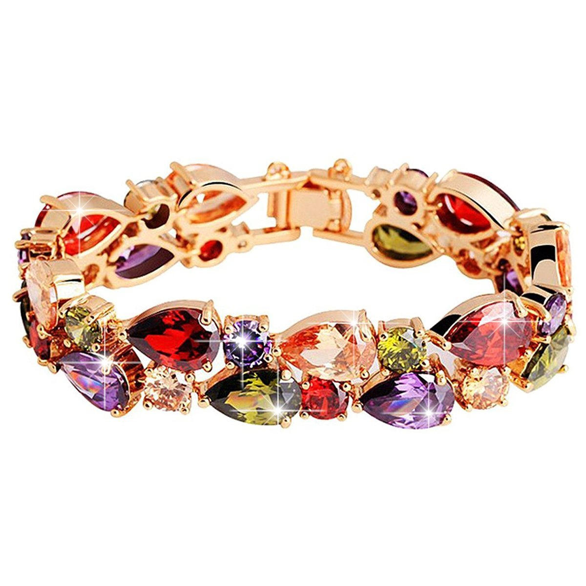 BAMOER Rose Gold Plated Multicolor Cubic Zirconia Bracelet for Women Girls Perfect Gift for Her 7.5 Inches