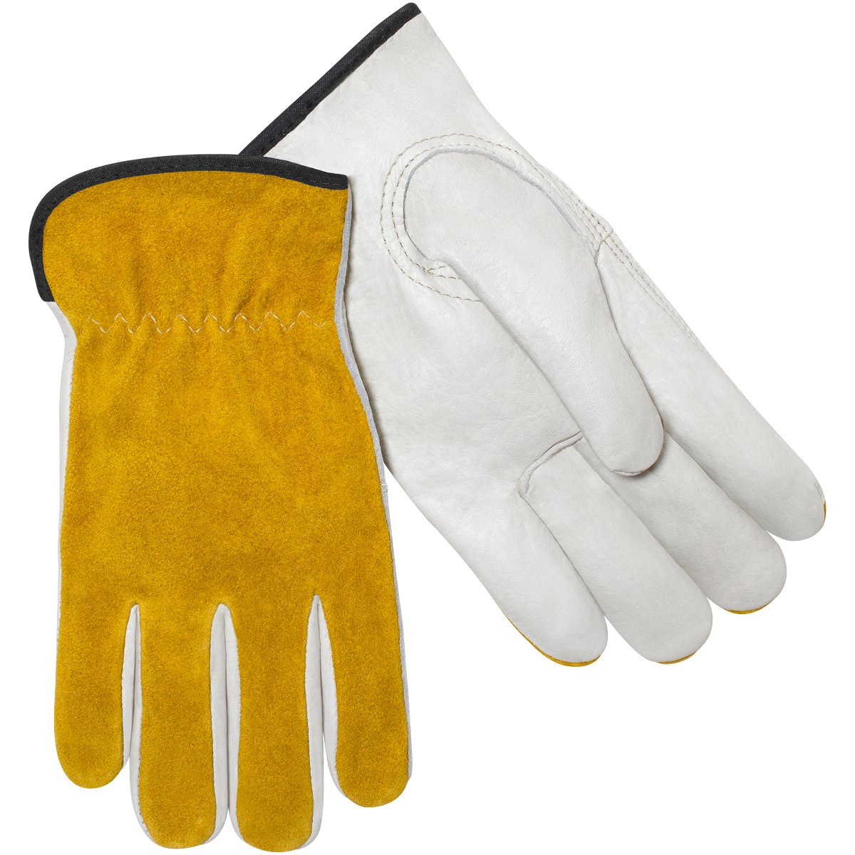 Steiner 0239-M Drivers Gloves, Tan Grain Cowhide Palm Gold Split Cowhide Back Unlined, Medium (12-Pack)