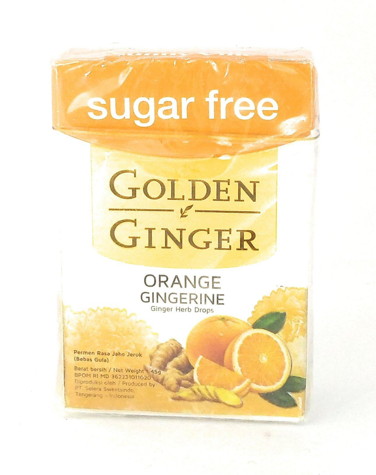 Golden Ginger Herb Drops Orange Gingerine (sugar free), 45 Gram (Pack of 4)
