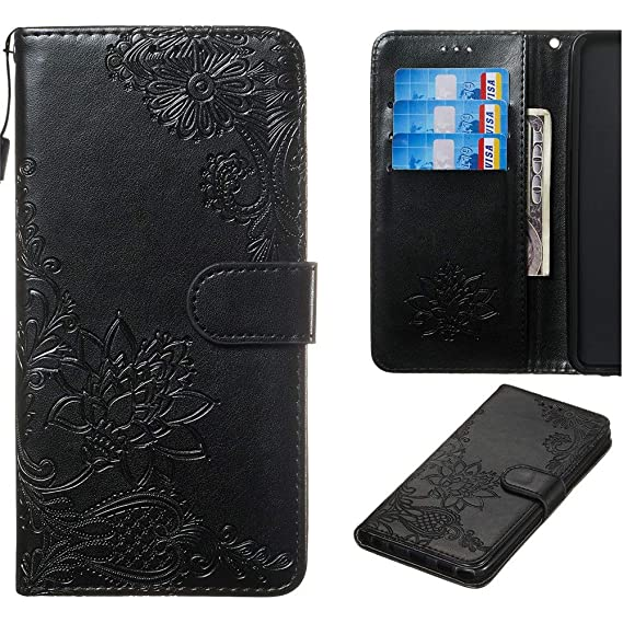 premium selection 1c81a 4a95b Amazon.com: XYX Moto G6 Case,Moto G6 Wallet Case,Diagonal 3D Lotus ...