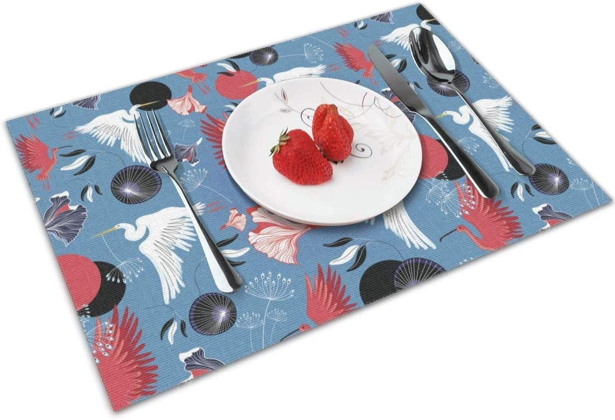 Herons and Ibis Mantel individual para mesa de comedor,lavable de tejido cruzado,antideslizante,mantel individual,mantel de vinilo,juego de 6 (12X18 pulgadas)