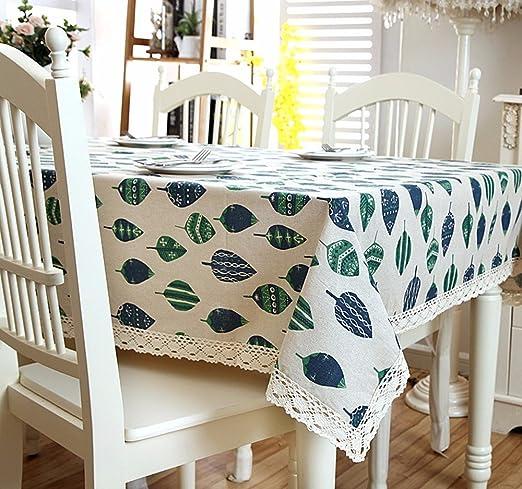 xzlxty Mantel de lino verde imprimir hojas de árbol Puntilla Puntilla algodón cabello,140×140cm.: Amazon.es: Hogar