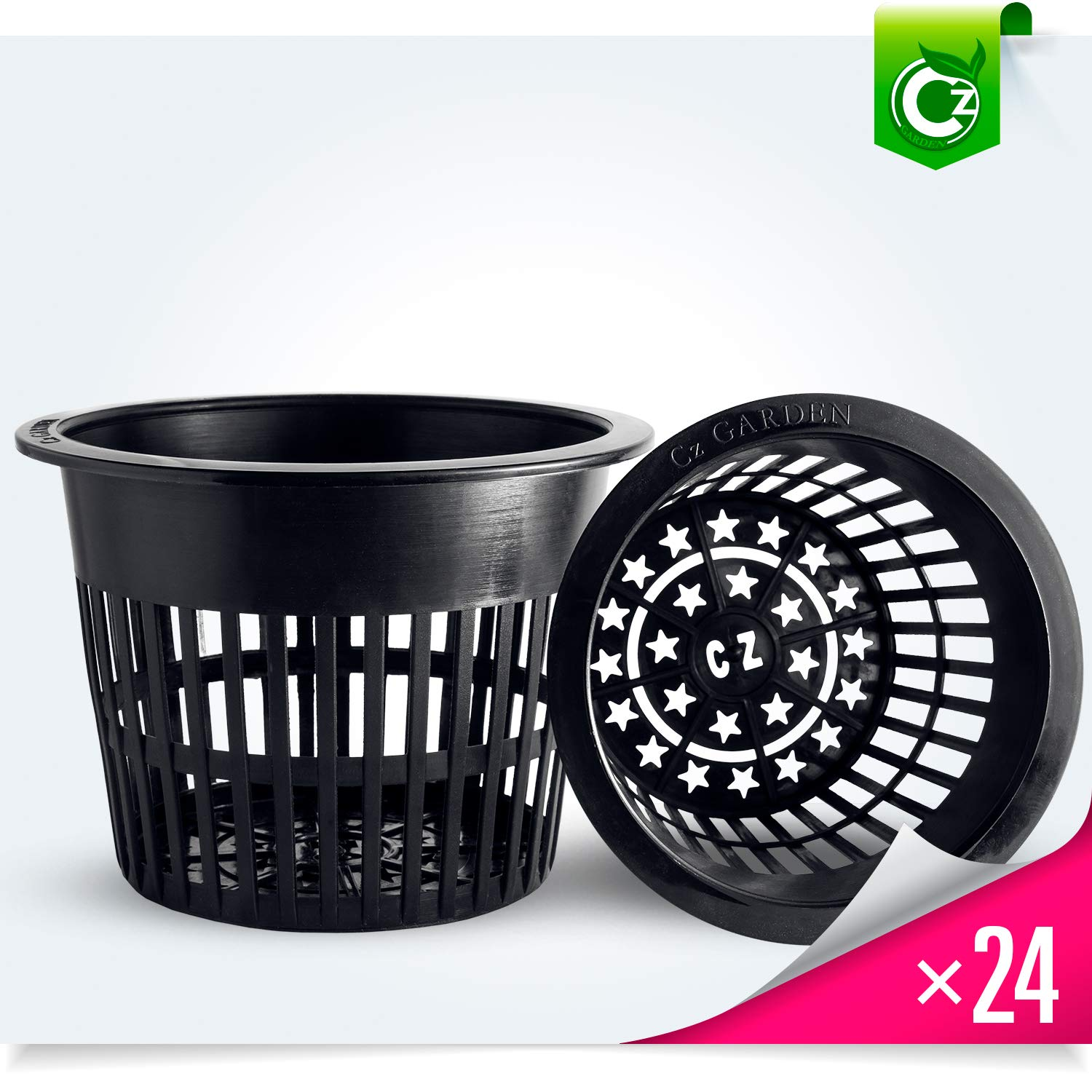 5 inch Net Pots Heavy Duty Round Cups Wide Rim Design – Orchids Aquaponics Aquaculture Hydroponics Slotted Mesh Cz All Star 24 Black Pots
