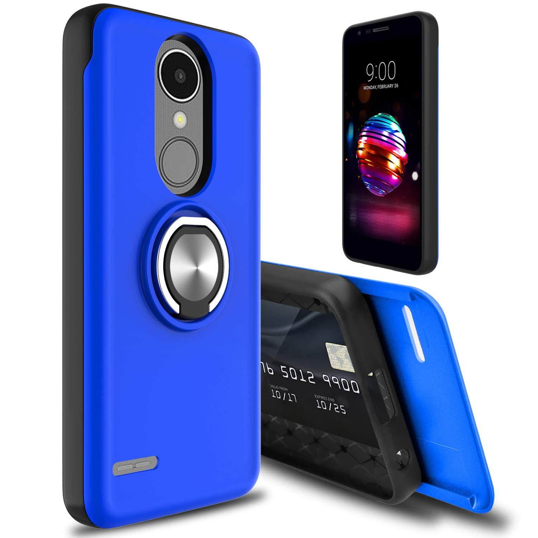 LG K30 Case, LG Premier Pro LTE Case, LG K10 2018 Case, lovpec [Cards Slot] Rotating Ring Kickstand Holder Drop Protection Hybrid Dual Layer Shockproof Phone Case Cover for LG Phoenix Plus (Blue1)