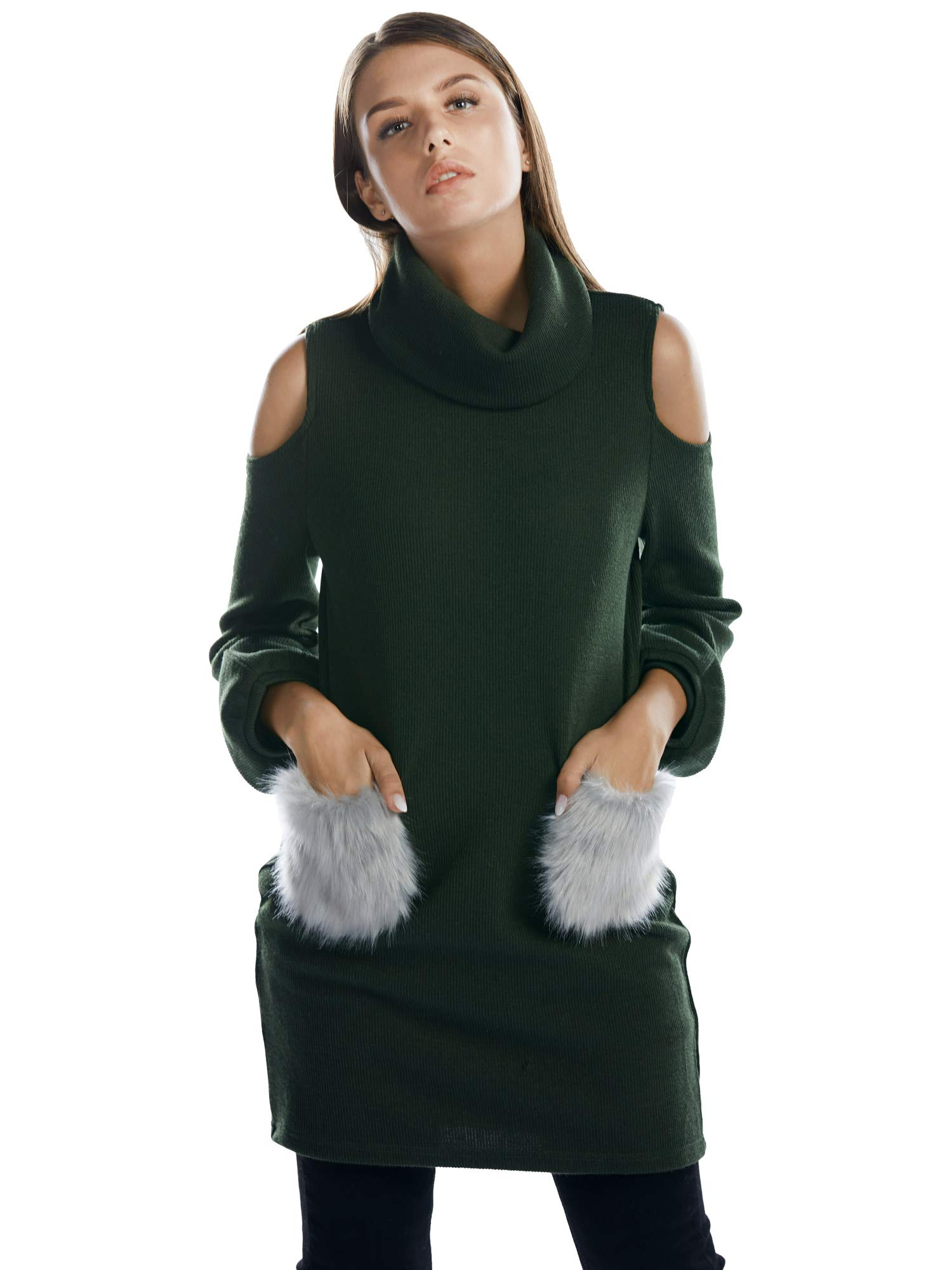 BARGOOS Women Chunky Turtleneck Cold Shoulder Balloon Sleeves Long Knitted  Sweater Dress Green Large 588bdb33d