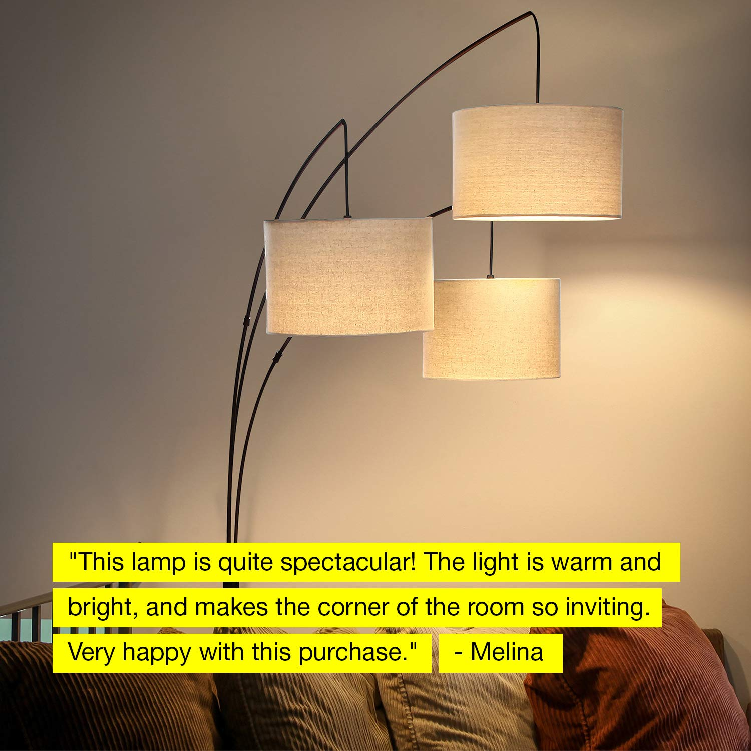 Brightech Trilage - Modern LED Arc Floor Lamp with Marble Base - Free Standing Behind The Couch Lamp for Living Room - 3 Hanging Lights, Great for Reading - Oil Rubbed Bronze by Brightech (Image #7)