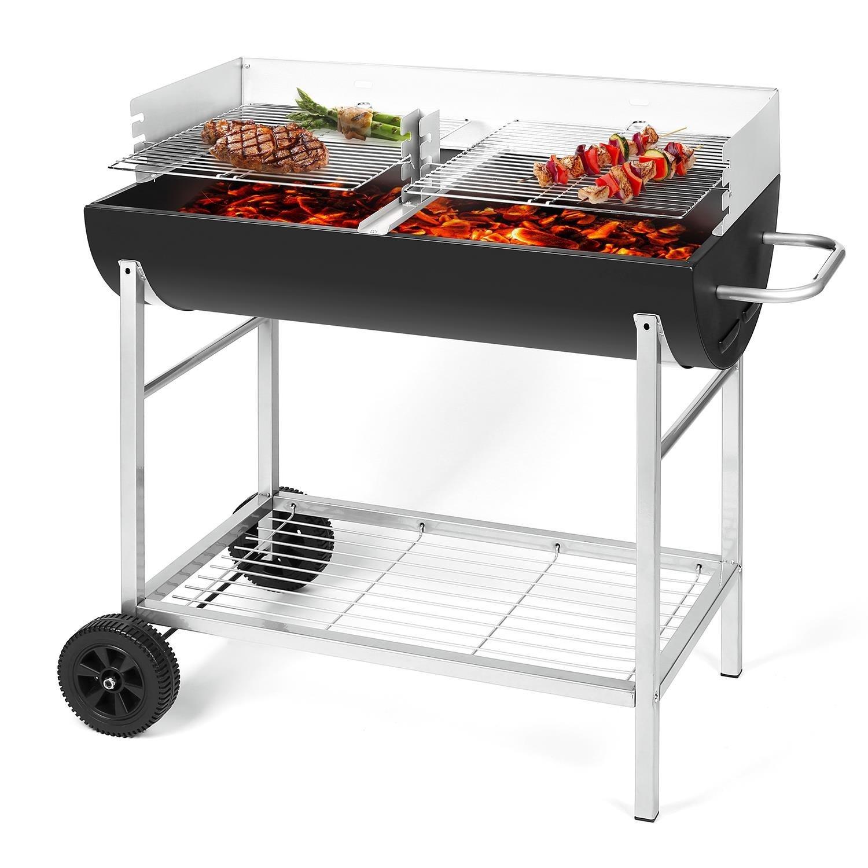 Oneconcept GQ5-Beef Barbacoa de carbón vegetal portatil 2 parrillas, 3 alturas, 2 contenedores extraibles, ruedas, rejilla para herramientas (articulo de ...