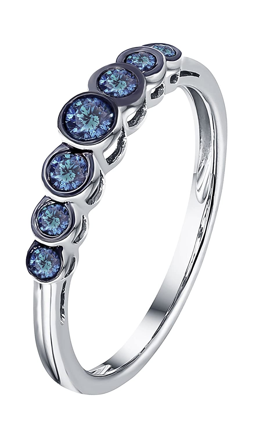 Prism Jewel 0.23Ct Round Cut Blue Diamond Bezel Set 7 Stone Ring Crafted In 10k Gold