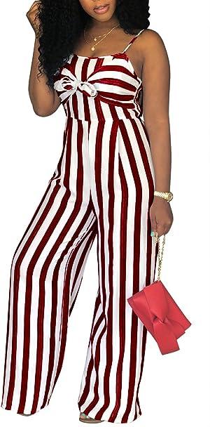 abe54e16e984 Sexy Spaghetti Strap Striped High Waist Wide Leg Long Pants Palazzo Jumpsuit