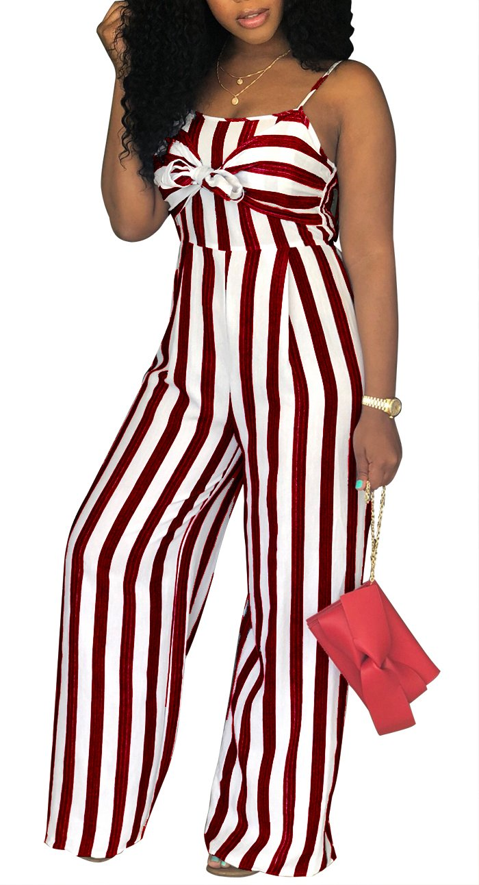 SheKiss Women's Sexy Spaghetti Strap Striped Tie Bowknot Long Pants Palazzo Jumpsuits Rompers Ladies Outfits Wine Red