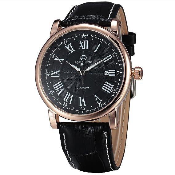 Forsining Classic negocios minimalista de los hombres reloj mecánico automático con calendario luminoso manos Top marca