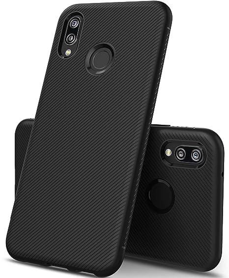 low priced 31bed 8ee1a Huawei P20 Lite case, KuGi Huawei P20 Lite case, SS [Scratch Resistant]  Premium Flexible Soft Anti Slip TPU Case for Huawei P20 Lite  Smartphone(Black)