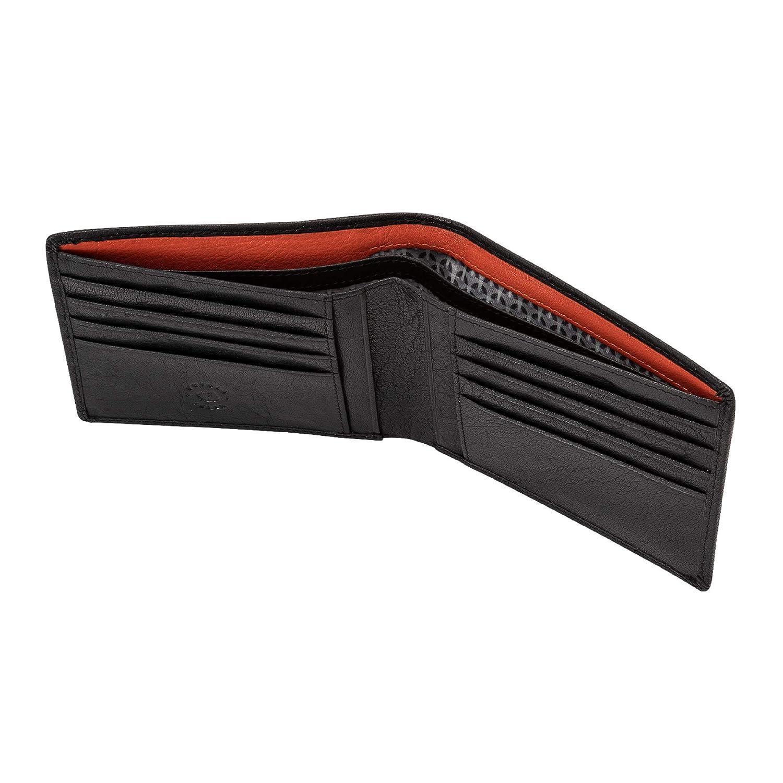 Nuvola Pelle Mens Wallet Slim Minimalist in Buffalo Leather Thin Card Holder Wallet 8 Slots Black