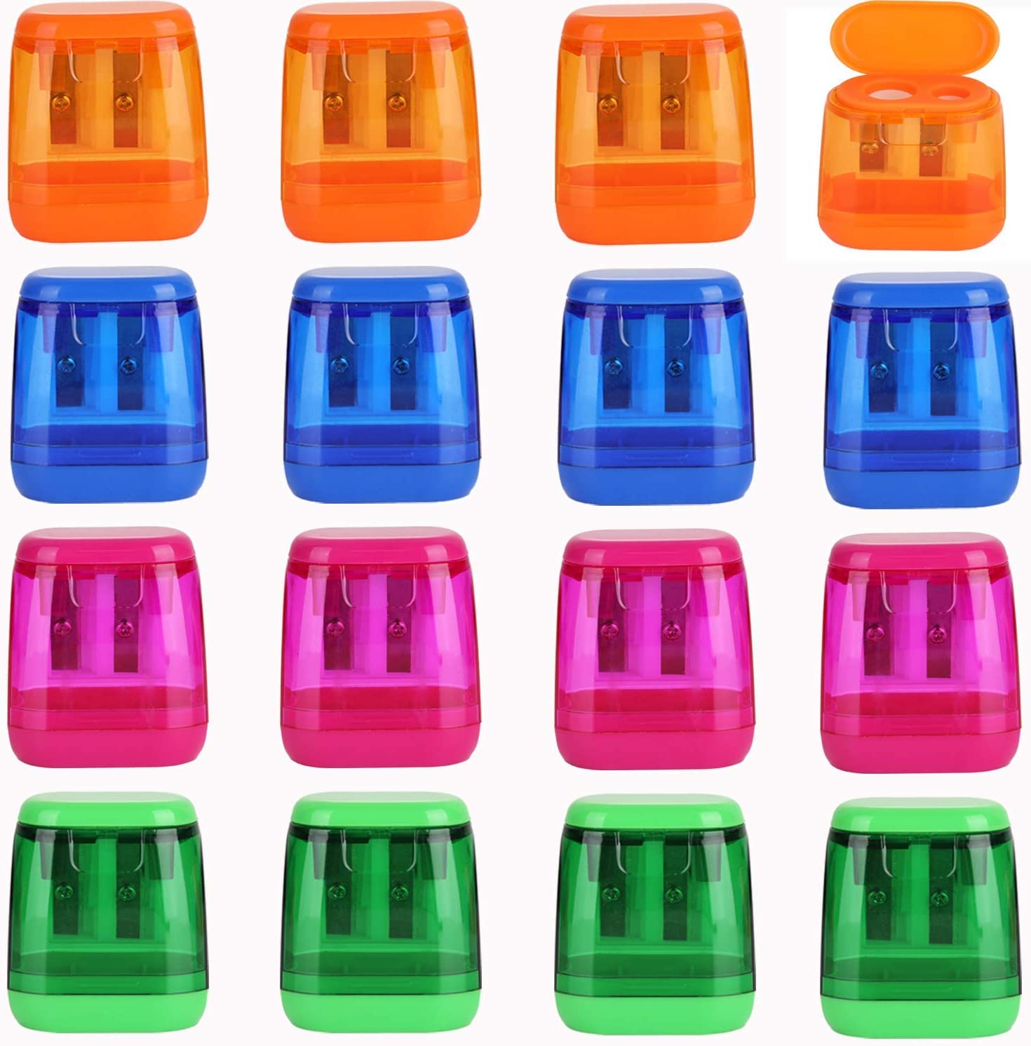 Pencil SharpenerDual Hole Pencil Sharpener Manual Pencil Sharpeners with Lid for School Home Office Supplies (12 Pieces)