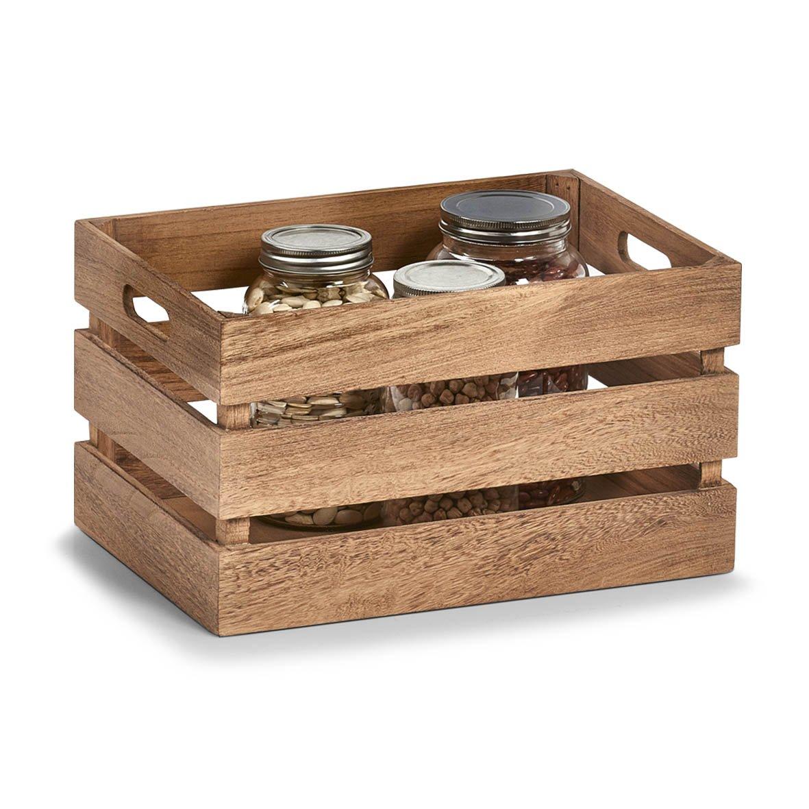 Zeller Caja de Almacenamiento, Madera, Blanco Vintage, vellón, Naturaleza, 35 x 25 x 20 cm: Amazon.es: Hogar