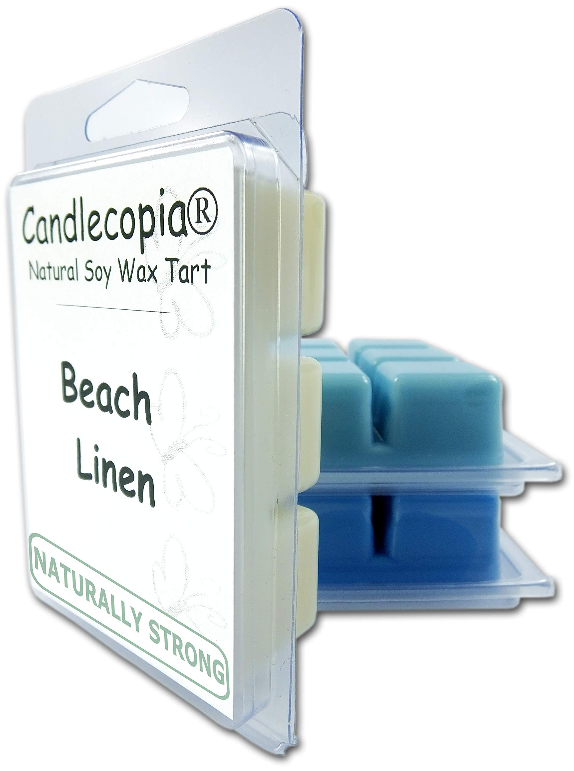 Candlecopia Rain Water, Sea Mist and Beach Linen Strongly Scented Hand Poured Vegan Wax Melts, 18 Scented Wax Cubes, 9.6 Ounces in 3 x 6-Packs