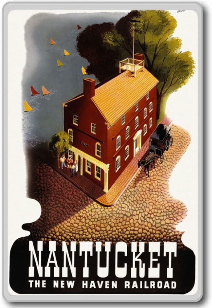 The New Haven Railroad, Nantucket Massachusetts, USA - Vintage Travel Fridge Magnet