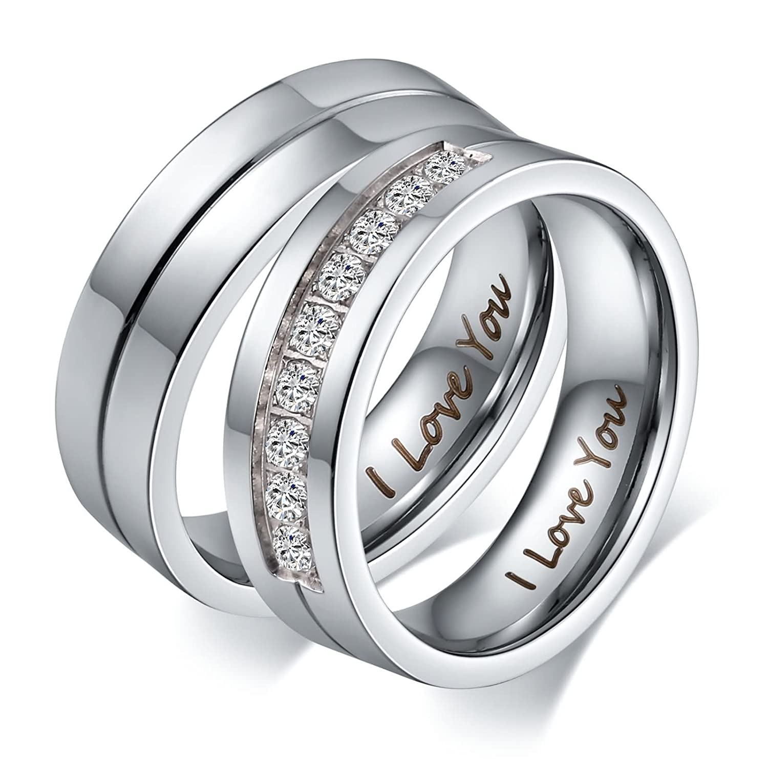 Aeici His & Hers I Love You Matching Rings Endless Love Stainless Steel Ladies Ring for Women Men Inlaid 9 CZ AEIXJ01KZI