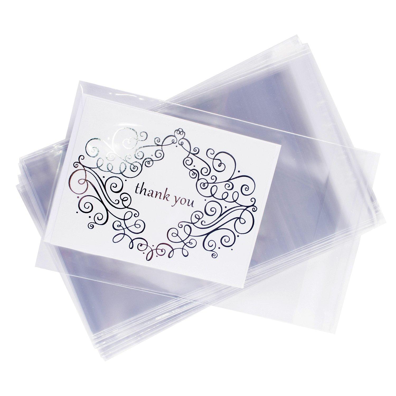 Amazon 100pcs Crystal Clear Flat Resealable Card Envelopes