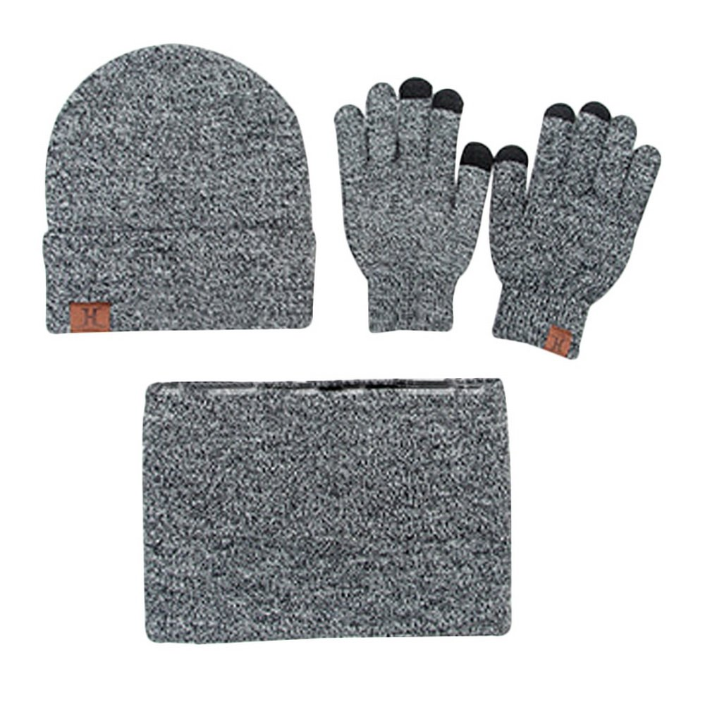 RainBabe Mens Knitted Hat Scarves Touch Gloves 3 Sets Gray