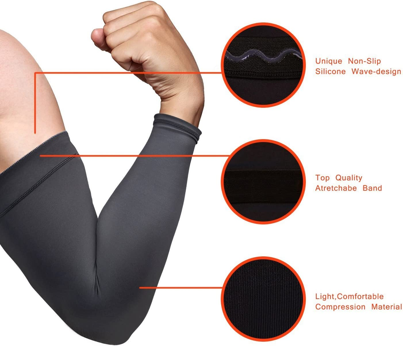 UV Protection Anti-Slip Breathable for Men Women Cycling Running Driving IKuaFly Arm Sleeves Basketball