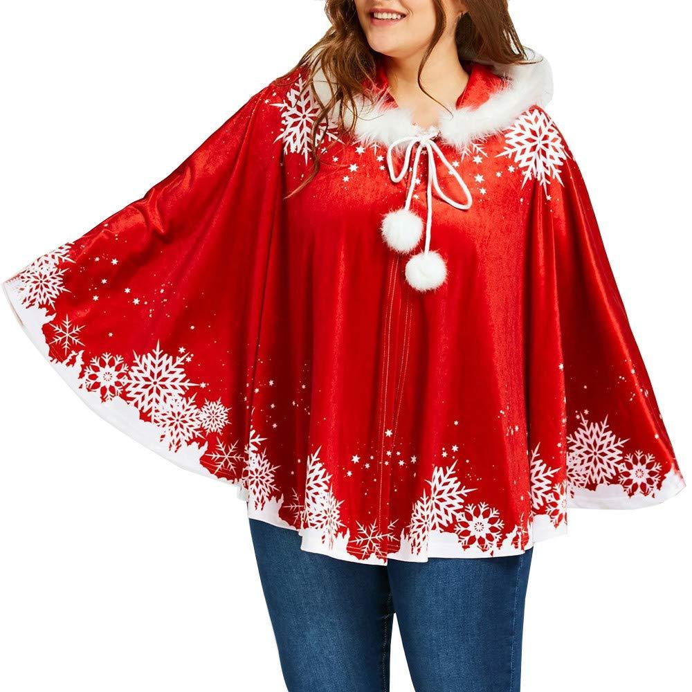 Christmas Women Snowflake Print Coat,Mosunx Ladies Fashional Cloak Matching Hooded Cape Coats (XL, Red)