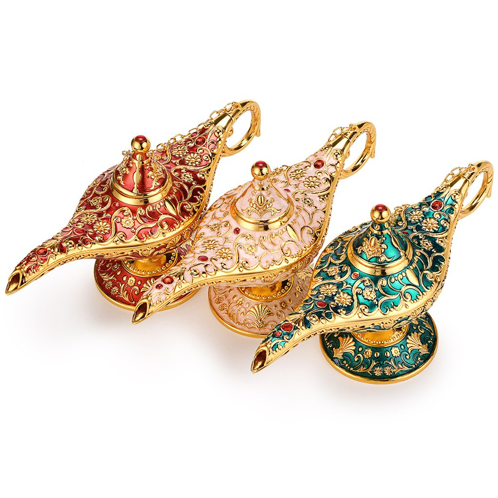 Hipiwe Vintage Magical Legend Aladdin's Genie Lamp for Home/Wedding Table Decoration,Collectable Rare Classic Arabian Costume Props Lamp Pot &Gift for Party/Halloween/Birthday(Green) by Hipiwe (Image #5)