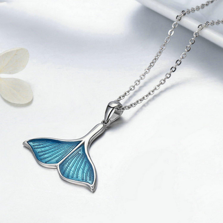 MMC Womens Necklaces Sea Blue Enamel Fish Whales Tail Mermaid Bridel Pendants