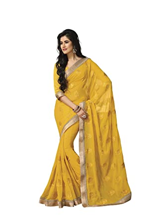 6f7ee977d Subhash Sarees Chiffon Saree (Sh-4319_Yellow): Amazon.in: Clothing ...