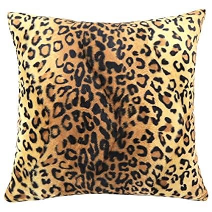 Square/Rectangle Leopard Animal Printed Stuffed Cushion ChezMax Short Plush  Stuffing Throw Pillow Insert For