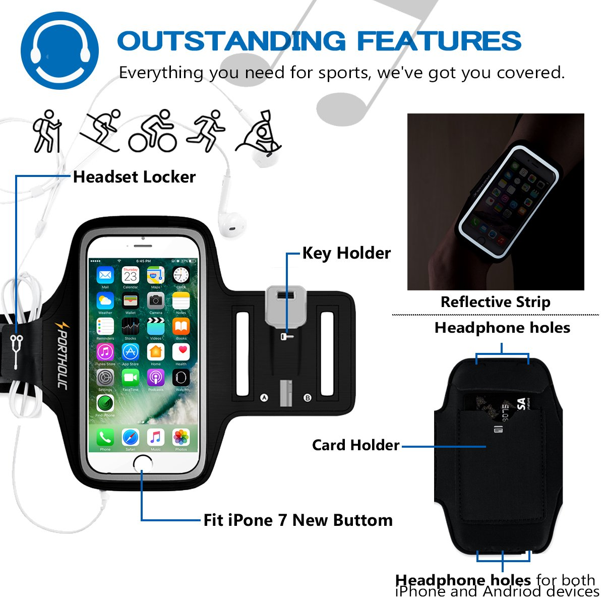 PORTHOLIC Running Armband Compatible with iPhone X 8 7 6 6s Plus Samsung Galaxy S9 S8 S7 S6 Running Phone Holder With Extension Strap Sweatproof Sports Armband for any Screen Up to 6.5 inches