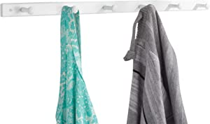iDesign Wooden Wall Mount 6-Peg Coat Rack for Hanging Jackets, Leashes, Purses, Hats, Scarves, Bags in Mudroom, Kitchen, Office, 32.5