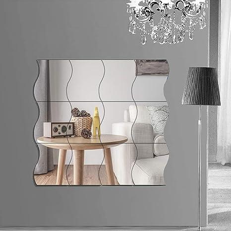 6er-Set Wandspiegel Spiegelfliesen Spiegelkachel Wand Aufkleber Für Küche Bad