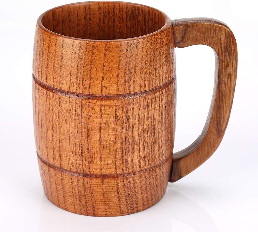 Wooden Cup Handmade Wood Coffee Handle Barrel Beer Glass Juice Milk Mug Tumble