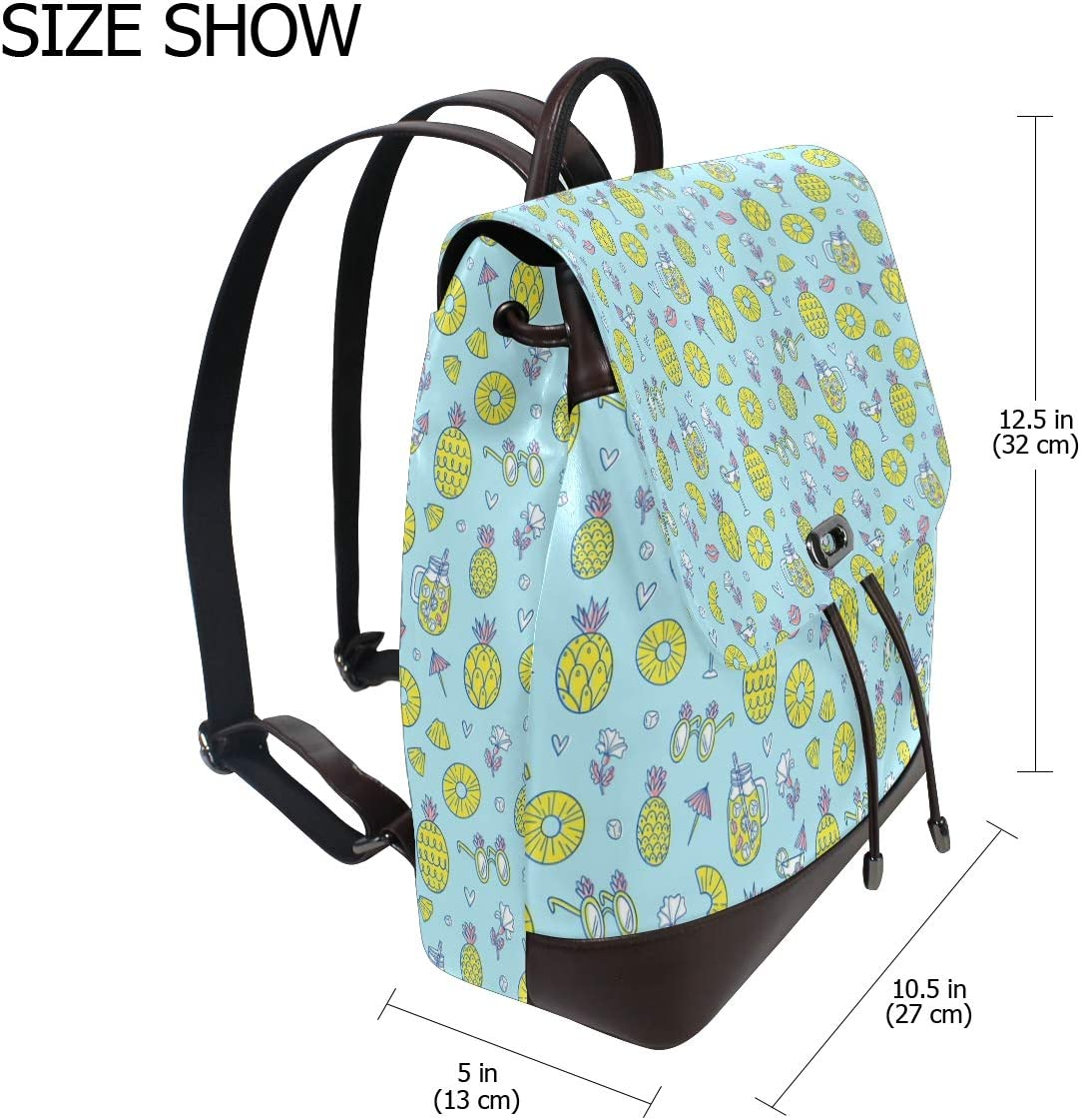 Unisex PU Leather Backpack Pineapple Juice and Lumps Blue Print Womens Casual Daypack Mens Travel Sports Bag Boys College Bookbag