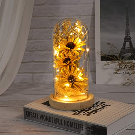 Artificial Sunflower in Glass Dome, LED Flower Lamp