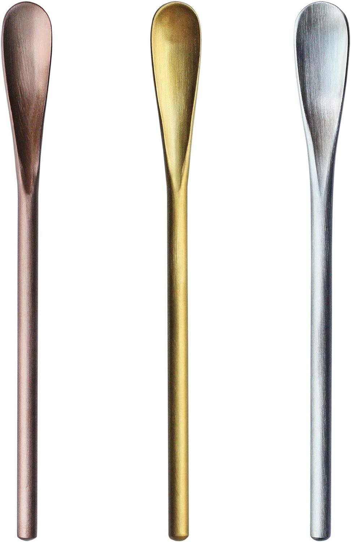 5 inch 3 pcs 304 Stainless Steel Coffee Stir Sticks, Cocktail Spoons, Beverage/Drink Stir Spoons, Tea Spoon with Short Handle Spoon…